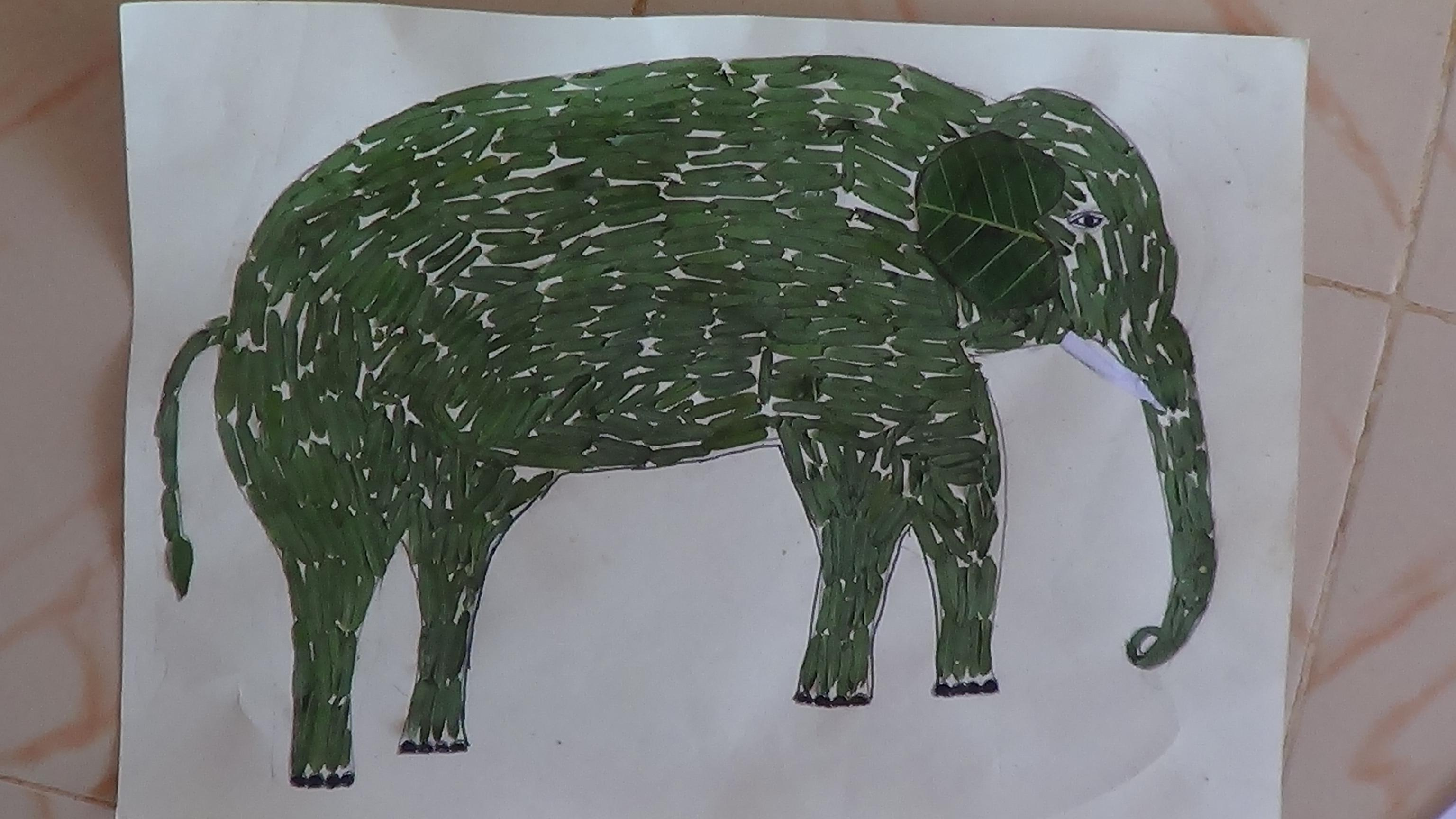 Elephant picture created of leaves
